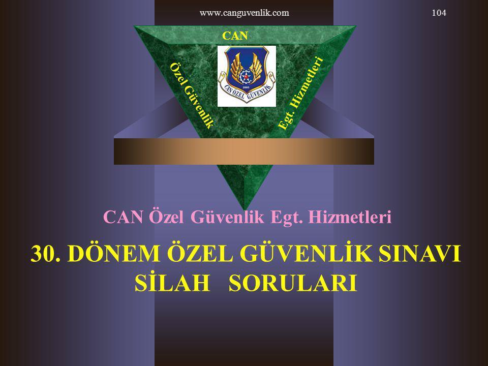 www.canguvenlik.com104 30. DÖNEM ÖZEL GÜVENLİK SINAVI SİLAH SORULARI CAN Özel Güvenlik Egt. Hizmetleri CAN Özel Güvenlik Egt. Hizmetleri