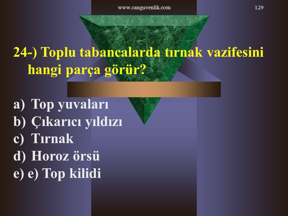 www.canguvenlik.com129 24-) Toplu tabancalarda tırnak vazifesini hangi parça görür? a) Top yuvaları b) Çıkarıcı yıldızı c) Tırnak d) Horoz örsü e)e) T