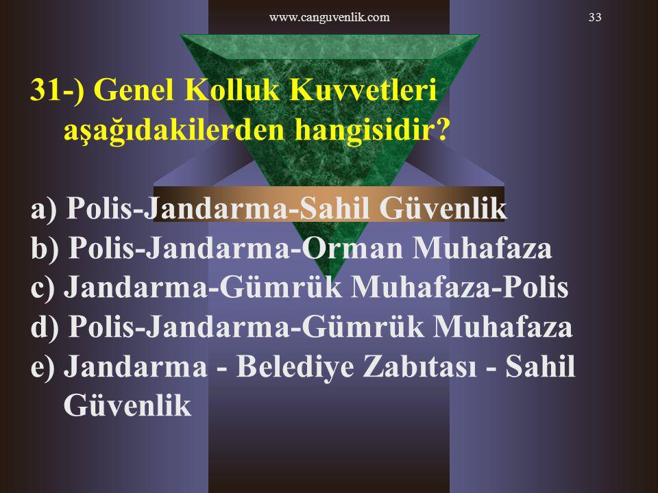 www.canguvenlik.com33 31-) Genel Kolluk Kuvvetleri aşağıdakilerden hangisidir? a) Polis-Jandarma-Sahil Güvenlik b) Polis-Jandarma-Orman Muhafaza c) Ja