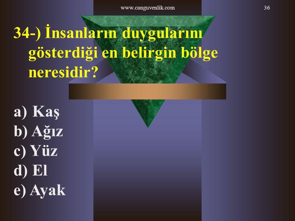 www.canguvenlik.com36 34-) İnsanların duygularını gösterdiği en belirgin bölge neresidir? a) Kaş b) Ağız c) Yüz d) El e) Ayak