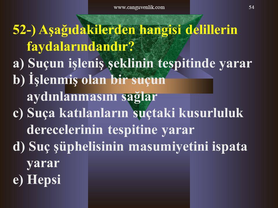 www.canguvenlik.com54 52-) Aşağıdakilerden hangisi delillerin faydalarındandır? a) Suçun işleniş şeklinin tespitinde yarar b) İşlenmiş olan bir suçun