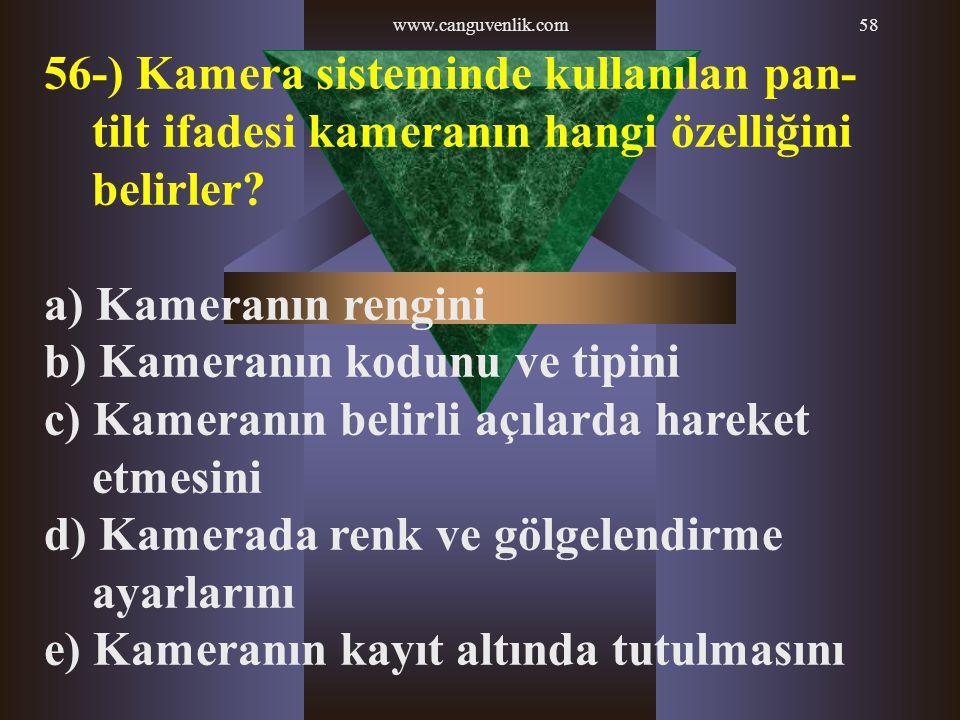 www.canguvenlik.com58 56-) Kamera sisteminde kullanılan pan- tilt ifadesi kameranın hangi özelliğini belirler? a) Kameranın rengini b) Kameranın kodun