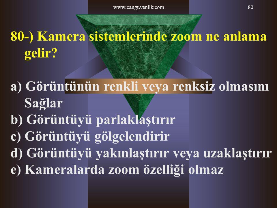 www.canguvenlik.com82 80-) Kamera sistemlerinde zoom ne anlama gelir? a) Görüntünün renkli veya renksiz olmasını Sağlar b) Görüntüyü parlaklaştırır c)