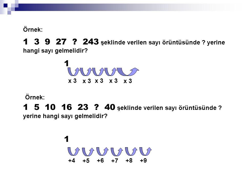 Örnek: 1 3 9 27 ? 243 şeklinde verilen sayı örüntüsünde ? yerine hangi sayı gelmelidir? 1 3 9 27 81 243 x 3 Örnek: 1 5 10 16 23 ? 40 şeklinde verilen