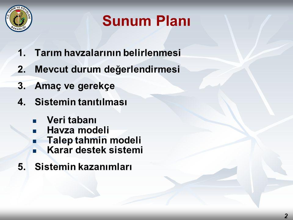 2 Sunum Planı 1. 1.Tarım havzalarının belirlenmesi 2. 2.Mevcut durum değerlendirmesi 3. 3.Amaç ve gerekçe 4. 4.Sistemin tanıtılması Veri tabanı Havza