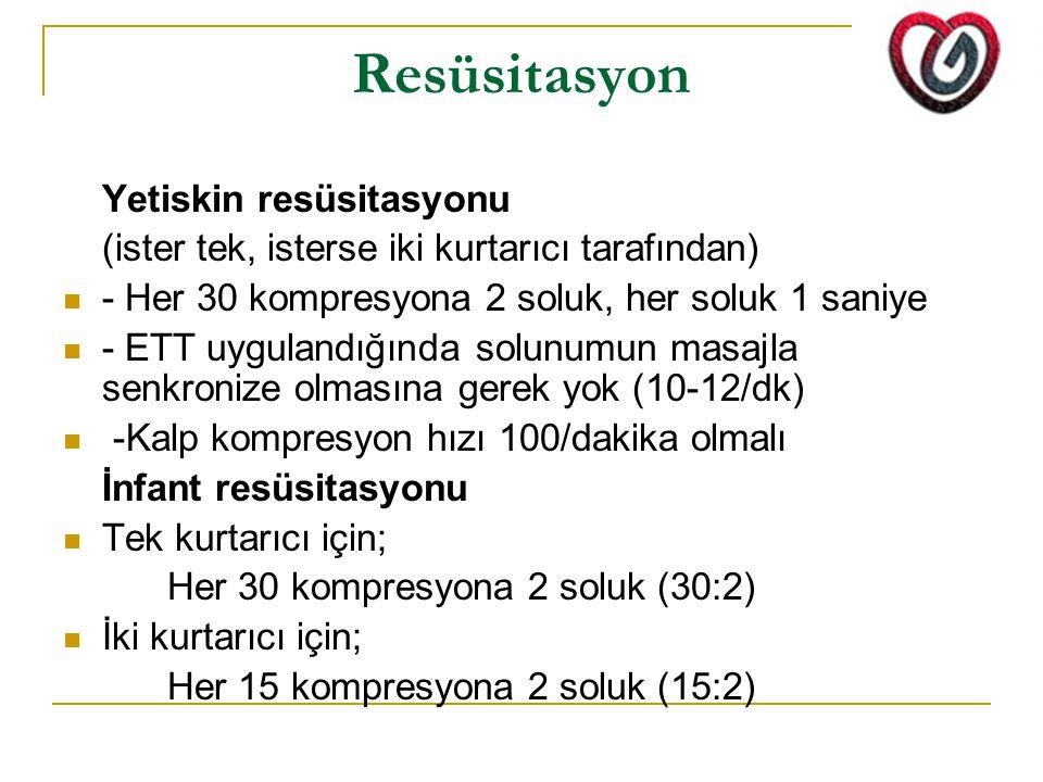 Resüsitasyon Yetiskin resüsitasyonu (ister tek, isterse iki kurtarıcı tarafından) - Her 30 kompresyona 2 soluk, her soluk 1 saniye - ETT uygulandığınd