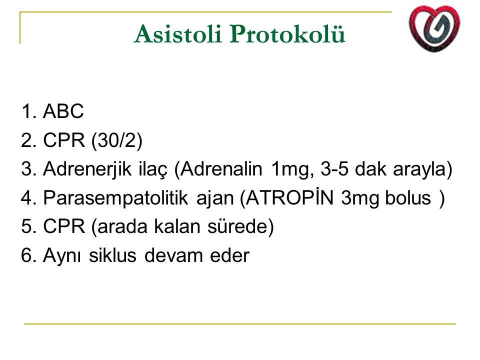 Asistoli Protokolü 1. ABC 2. CPR (30/2) 3. Adrenerjik ilaç (Adrenalin 1mg, 3-5 dak arayla) 4. Parasempatolitik ajan (ATROPİN 3mg bolus ) 5. CPR (arada