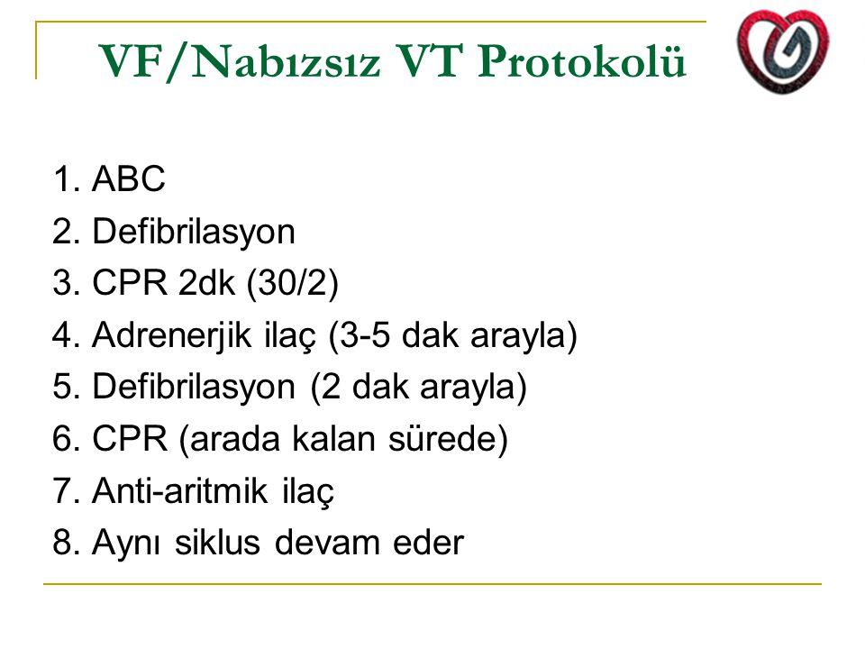 VF/Nabızsız VT Protokolü 1. ABC 2. Defibrilasyon 3. CPR 2dk (30/2) 4. Adrenerjik ilaç (3-5 dak arayla) 5. Defibrilasyon (2 dak arayla) 6. CPR (arada k