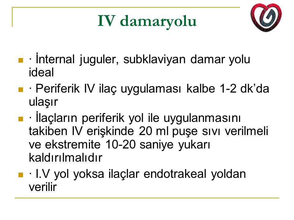 IV damaryolu · İnternal juguler, subklaviyan damar yolu ideal · Periferik IV ilaç uygulaması kalbe 1-2 dk'da ulaşır · İlaçların periferik yol ile uygu