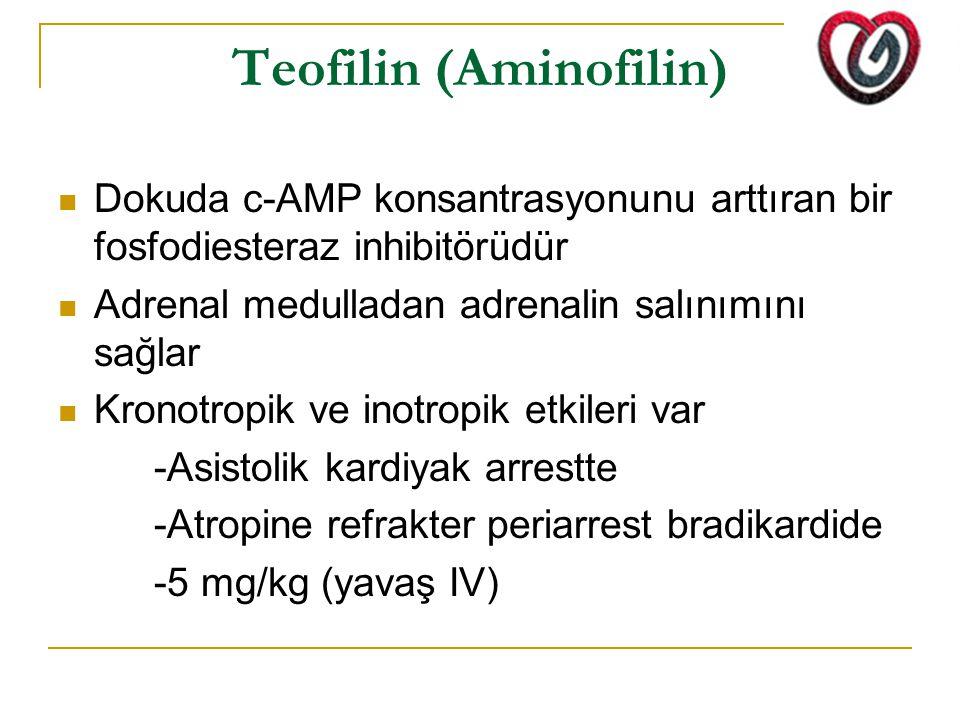 Teofilin (Aminofilin) Dokuda c-AMP konsantrasyonunu arttıran bir fosfodiesteraz inhibitörüdür Adrenal medulladan adrenalin salınımını sağlar Kronotrop