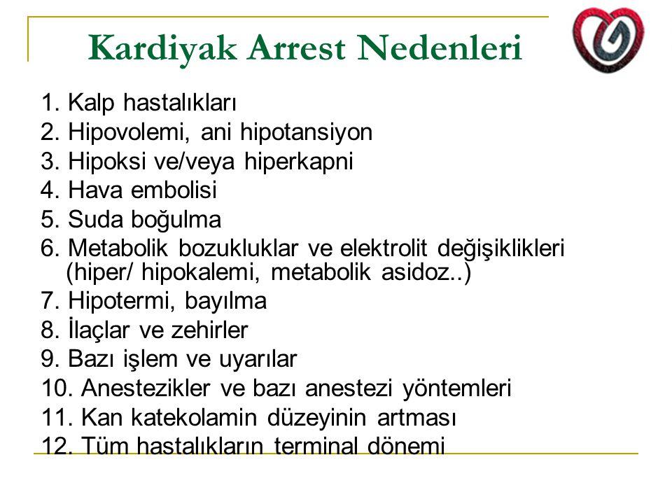 Kardiyak Arrest Nedenleri 1. Kalp hastalıkları 2. Hipovolemi, ani hipotansiyon 3. Hipoksi ve/veya hiperkapni 4. Hava embolisi 5. Suda boğulma 6. Metab