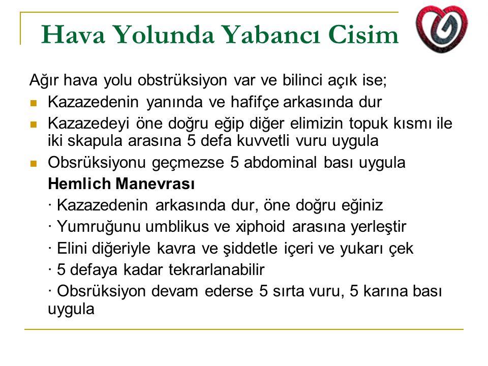 Hava Yolunda Yabancı Cisim Ağır hava yolu obstrüksiyon var ve bilinci açık ise; Kazazedenin yanında ve hafifçe arkasında dur Kazazedeyi öne doğru eğip
