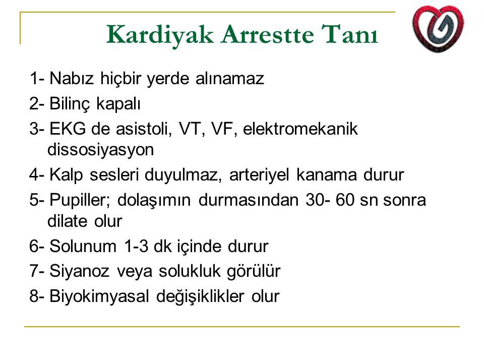 Kardiyak Arrestte Tanı 1- Nabız hiçbir yerde alınamaz 2- Bilinç kapalı 3- EKG de asistoli, VT, VF, elektromekanik dissosiyasyon 4- Kalp sesleri duyulm