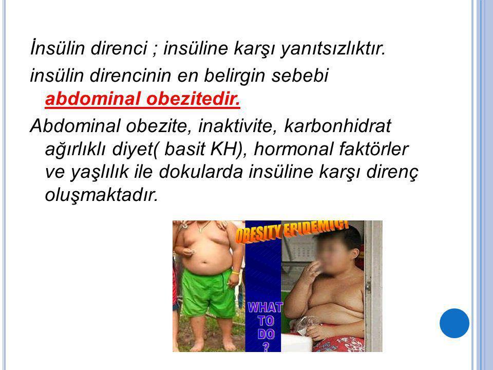 İnsülin direnci ; insüline karşı yanıtsızlıktır. insülin direncinin en belirgin sebebi abdominal obezitedir. Abdominal obezite, inaktivite, karbonhidr
