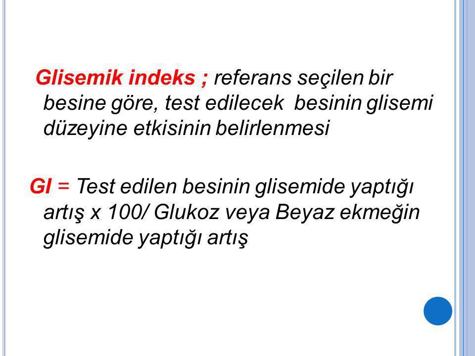 Glisemik indeks ; referans seçilen bir besine göre, test edilecek besinin glisemi düzeyine etkisinin belirlenmesi GI = Test edilen besinin glisemide y