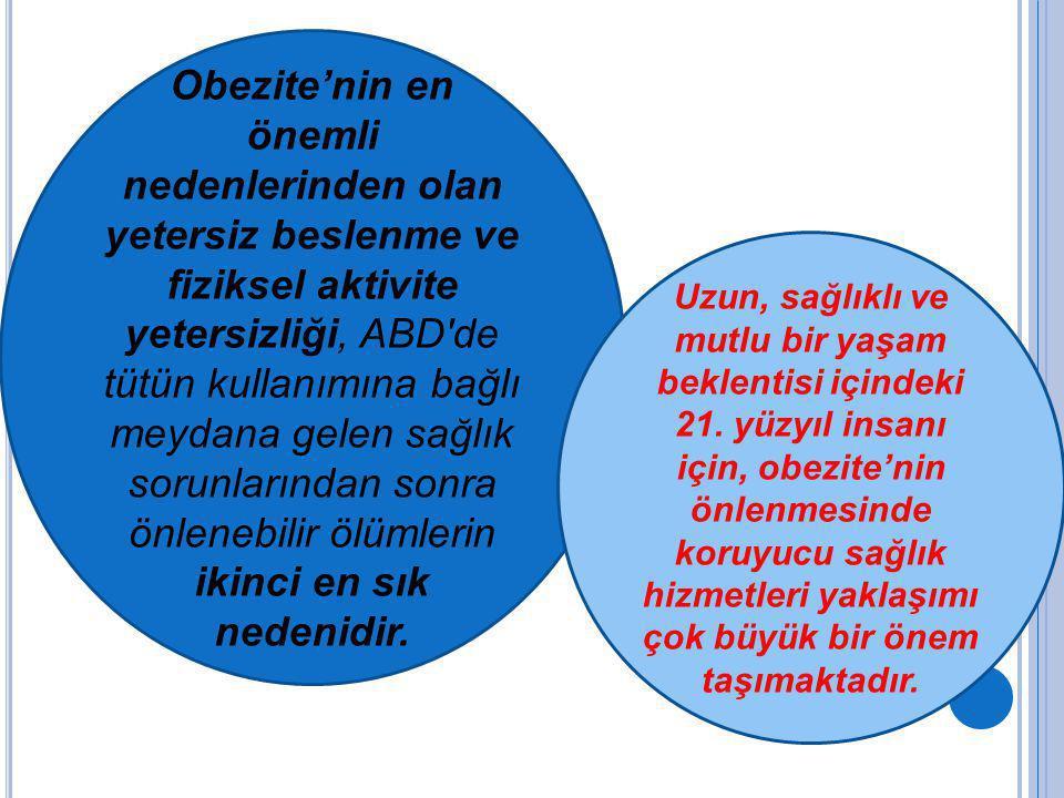 T ÜRKIYE ' DE OBEZITE ; 3681 kişiyi kapsayan Türkiye'de Erişkinlerde Kalp Hastalığı ve Risk Faktörleri (TEKHARF) çalışmasında (1990) (n=3681) BKİ > 30 kg/ m² obezite olarak kabul edilmiştir.