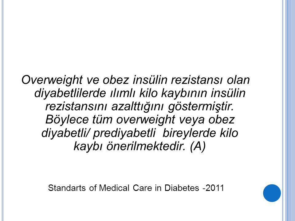 Overweight ve obez insülin rezistansı olan diyabetlilerde ılımlı kilo kaybının insülin rezistansını azalttığını göstermiştir. Böylece tüm overweight v