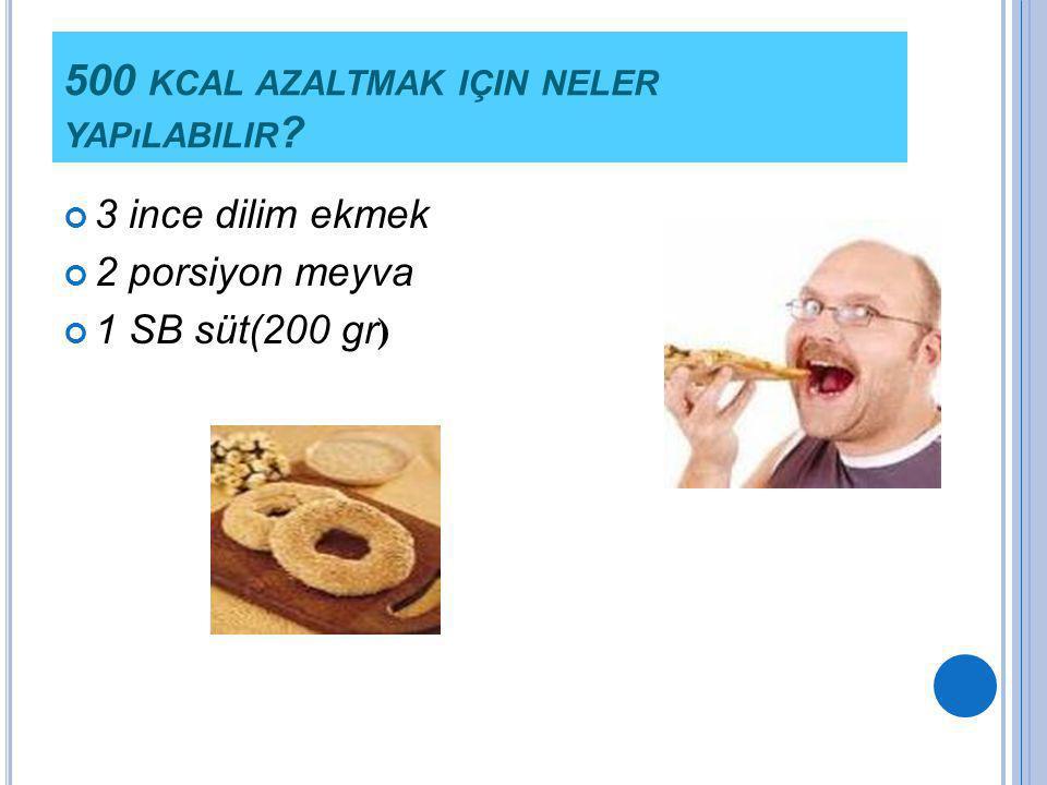 500 KCAL AZALTMAK IÇIN NELER YAPıLABILIR ? 3 ince dilim ekmek 2 porsiyon meyva 1 SB süt(200 gr )