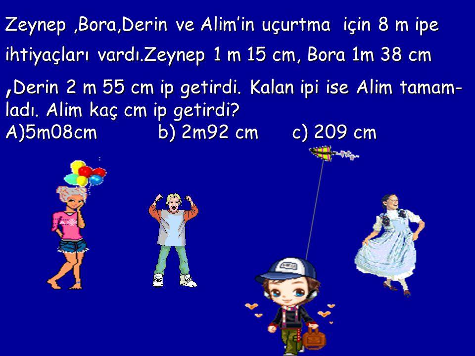 Zeynep,Bora,Derin ve Alim'in uçurtma için 8 m ipe ihtiyaçları vardı.Zeynep 1 m 15 cm, Bora 1m 38 cm, Derin 2 m 55 cm ip getirdi.