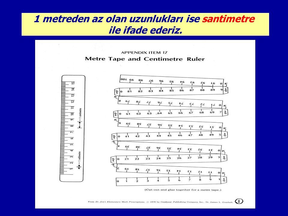 Metre kısaca m ile santimetre ise cm ile gösterilir.