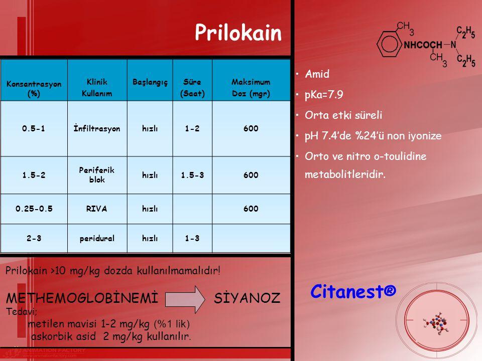 Prilokain Amid pKa=7.9 Orta etki süreli pH 7.4'de %24'ü non iyonize Orto ve nitro o-toulidine metabolitleridir.