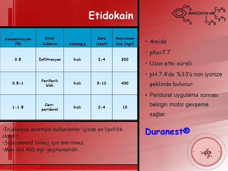 Etidokain Amide pKa=7.7 Uzun etki süreli pH 7.4'de %33'ü non iyonize şeklinde bulunur Peridural uygulama sonrası belirgin motor gevşeme sağlar.