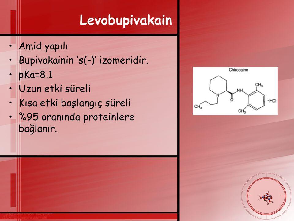 Levobupivakain Amid yapılı Bupivakainin 's(-)' izomeridir.