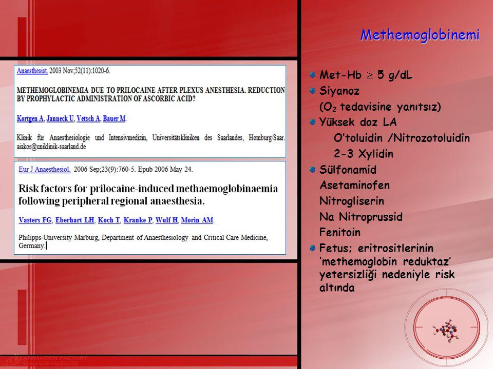 Methemoglobinemi Met-Hb  5 g/dL Siyanoz (O 2 tedavisine yanıtsız) Yüksek doz LA O'toluidin /Nitrozotoluidin 2-3 Xylidin Sülfonamid Asetaminofen Nitrogliserin Na Nitroprussid Fenitoin Fetus; eritrositlerinin 'methemoglobin reduktaz' yetersizliği nedeniyle risk altında