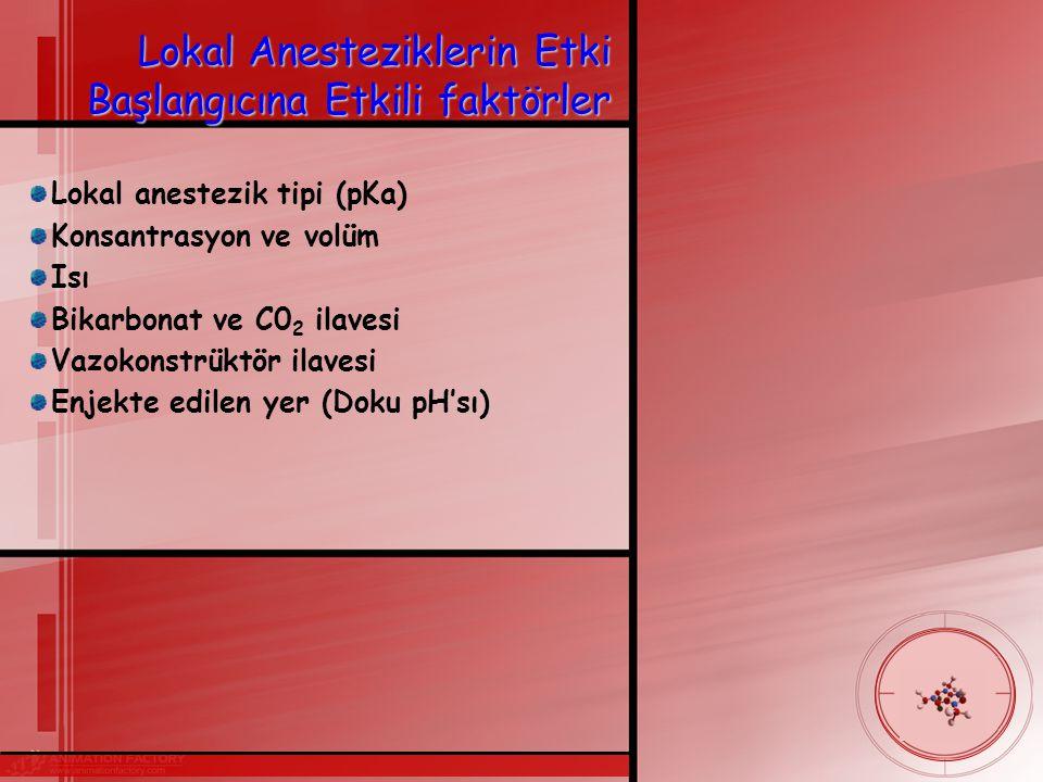 Lokal Anesteziklerin Etki Başlangıcına Etkili faktörler Lokal anestezik tipi (pKa) Konsantrasyon ve volüm Isı Bikarbonat ve C0 2 ilavesi Vazokonstrüktör ilavesi Enjekte edilen yer (Doku pH'sı)