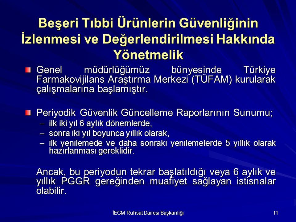 İEGM Ruhsat Dairesi Başkanlığı 11 Genel müdürlüğümüz bünyesinde Türkiye Farmakovijilans Araştırma Merkezi (TÜFAM) kurularak çalışmalarına başlamıştır.
