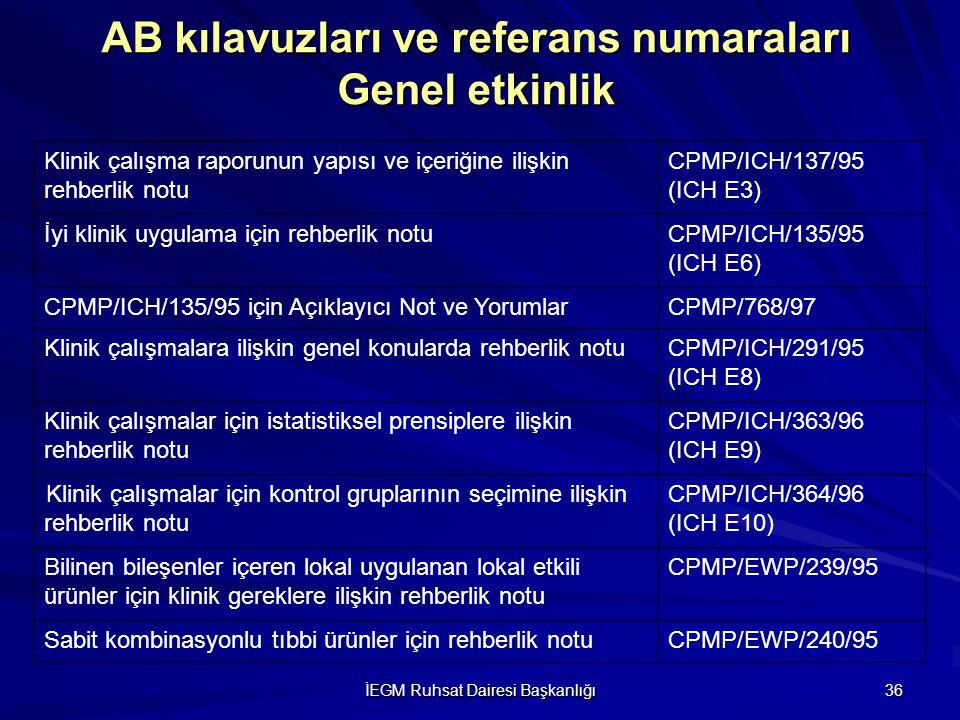 İEGM Ruhsat Dairesi Başkanlığı 36 AB kılavuzları ve referans numaraları Genel etkinlik Klinik çalışma raporunun yapısı ve içeriğine ilişkin rehberlik