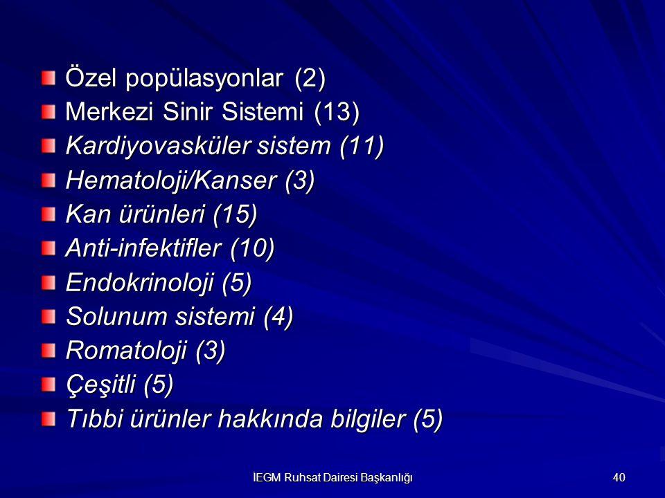 İEGM Ruhsat Dairesi Başkanlığı 40 Özel popülasyonlar (2) Merkezi Sinir Sistemi (13) Kardiyovasküler sistem (11) Hematoloji/Kanser (3) Kan ürünleri (15