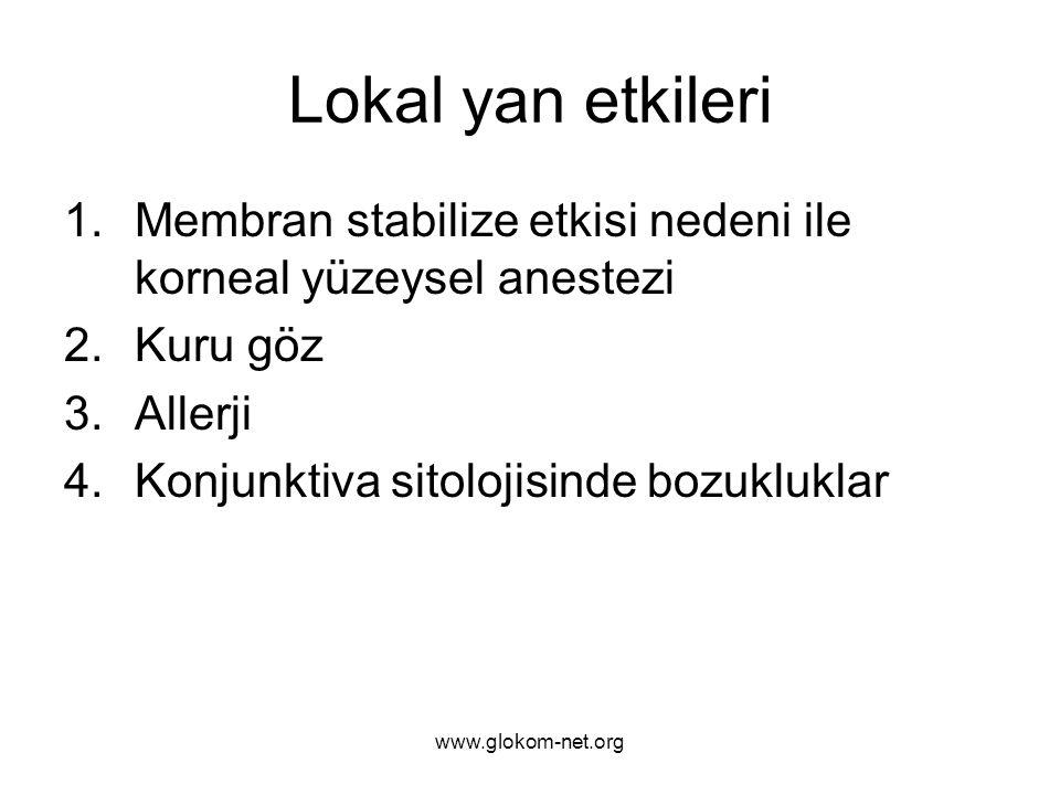 www.glokom-net.org Lokal yan etkileri 1.Membran stabilize etkisi nedeni ile korneal yüzeysel anestezi 2.Kuru göz 3.Allerji 4.Konjunktiva sitolojisinde bozukluklar