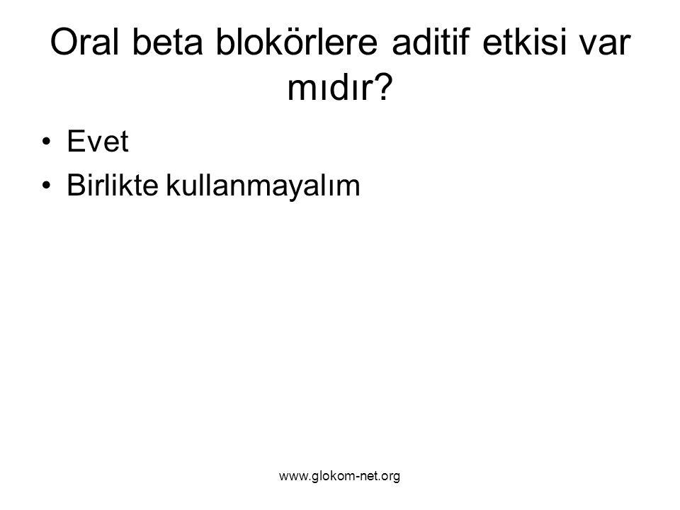 www.glokom-net.org Oral beta blokörlere aditif etkisi var mıdır? Evet Birlikte kullanmayalım