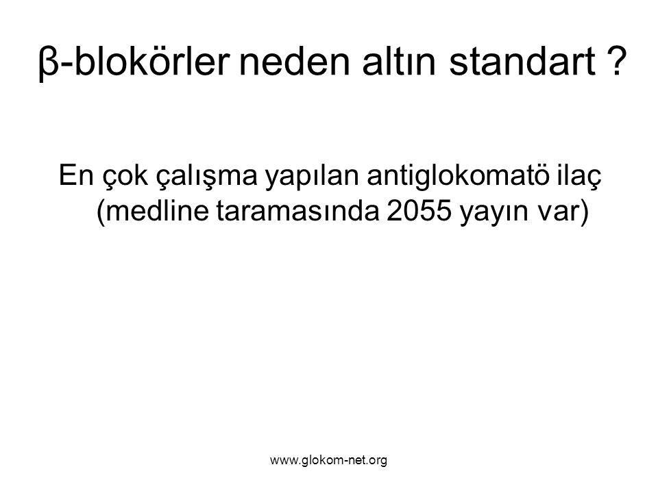 En çok çalışma yapılan antiglokomatö ilaç (medline taramasında 2055 yayın var) β-blokörler neden altın standart ?