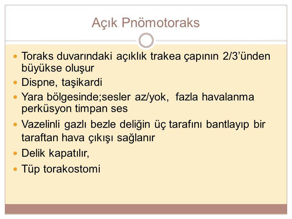 Açık Pnömotoraks Toraks duvarındaki açıklık trakea çapının 2/3'ünden büyükse oluşur Dispne, taşikardi Yara bölgesinde;sesler az/yok, fazla havalanma p