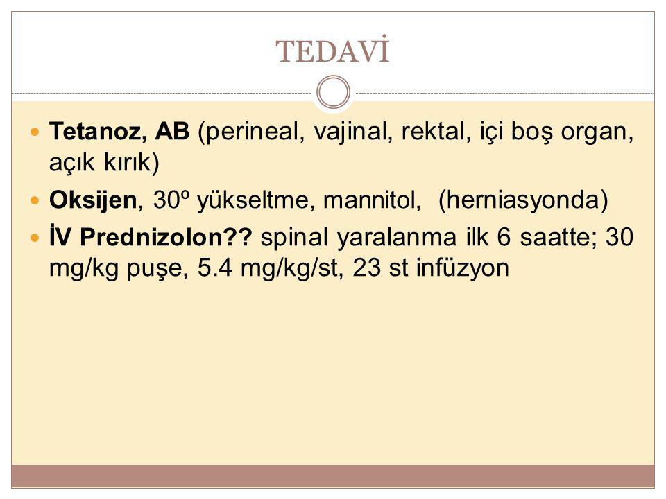 TEDAVİ Tetanoz, AB ( perineal, vajinal, rektal, içi boş organ, açık kırık) Oksijen, 30º yükseltme, mannitol, (herniasyonda) İV Prednizolon?? spinal ya