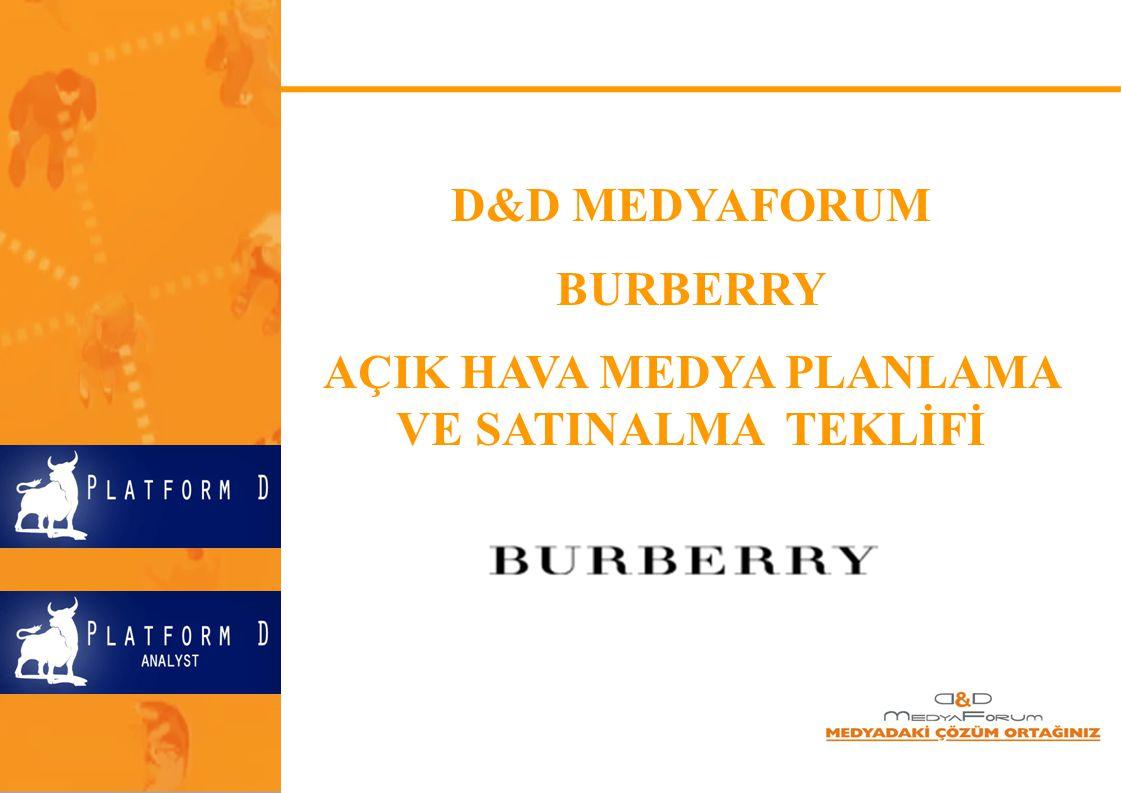 D&D MEDYAFORUM BURBERRY AÇIK HAVA MEDYA PLANLAMA VE SATINALMA TEKLİFİ