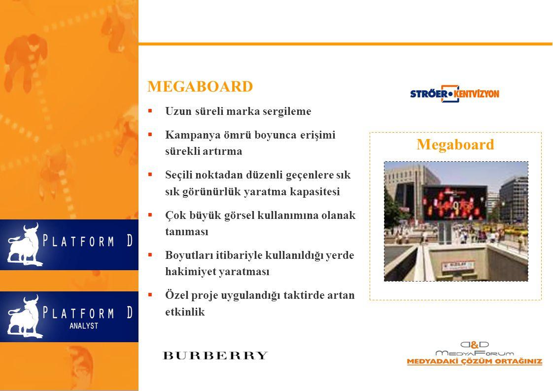 Megaboard MEGABOARD  Uzun süreli marka sergileme  Kampanya ömrü boyunca erişimi sürekli artırma  Seçili noktadan düzenli geçenlere sık sık görünürl