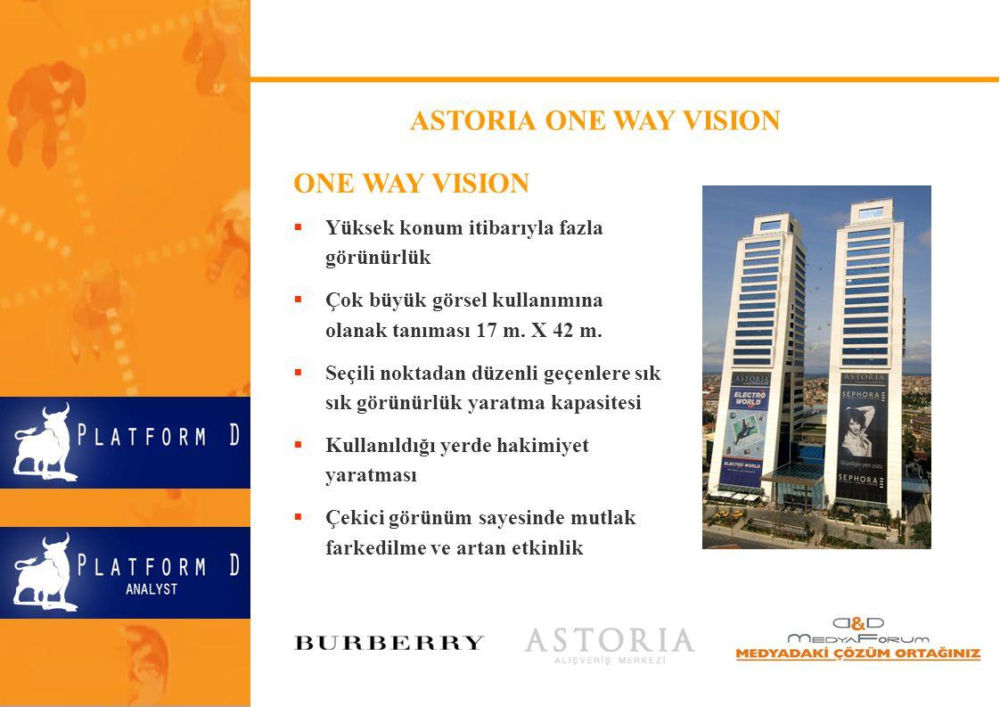 ASTORIA ONE WAY VISION ONE WAY VISION  Yüksek konum itibarıyla fazla görünürlük  Çok büyük görsel kullanımına olanak tanıması 17 m. X 42 m.  Seçili