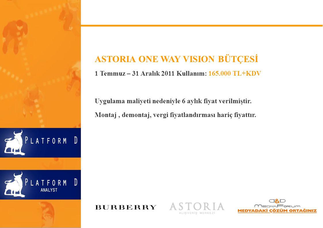 ASTORIA ONE WAY VISION BÜTÇESİ 1 Temmuz – 31 Aralık 2011 Kullanım: 165.000 TL+KDV Uygulama maliyeti nedeniyle 6 aylık fiyat verilmiştir. Montaj, demon