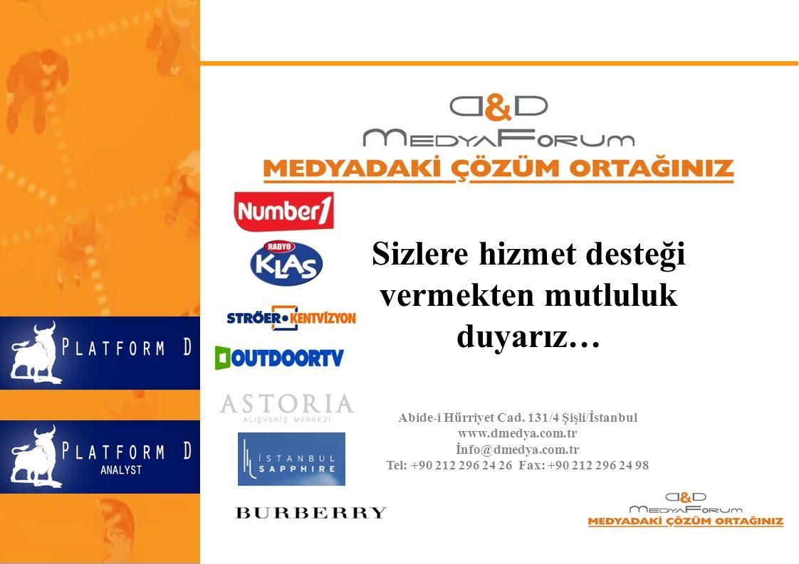 Sizlere hizmet desteği vermekten mutluluk duyarız… Abide-i Hürriyet Cad. 131/4 Şişli/İstanbul www.dmedya.com.tr İnfo@dmedya.com.tr Tel: +90 212 296 24