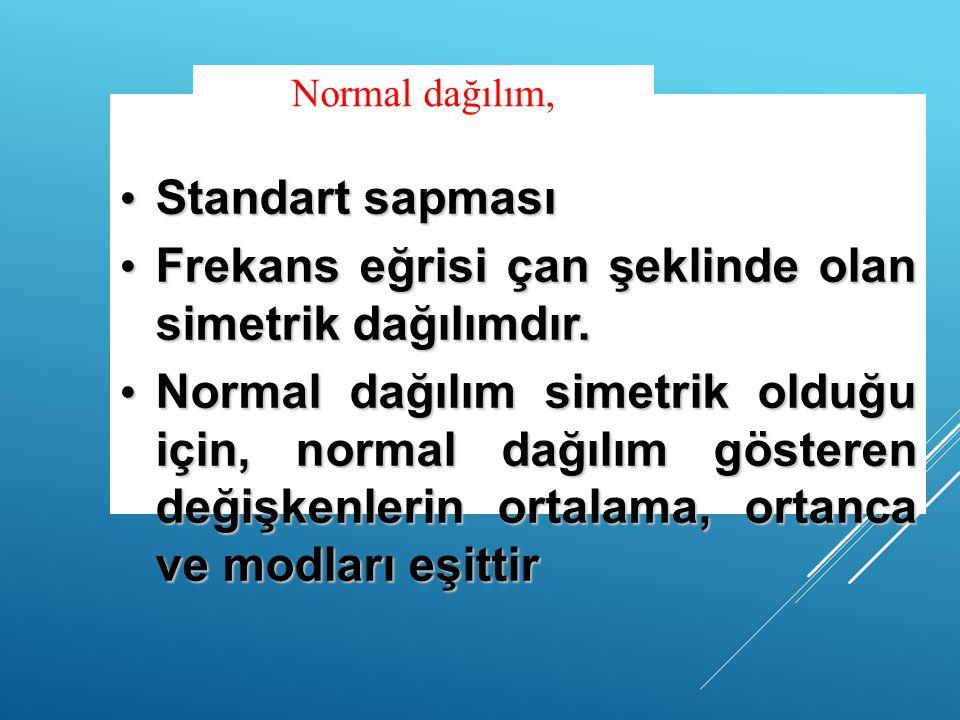 Standart sapması Standart sapması Frekans eğrisi çan şeklinde olan simetrik dağılımdır. Frekans eğrisi çan şeklinde olan simetrik dağılımdır. Normal d