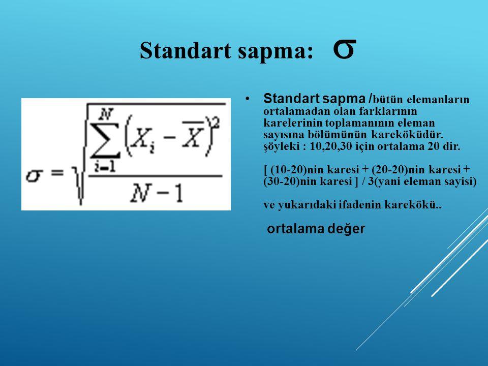 Standart sapma:  Standart sapma / bütün elemanların ortalamadan olan farklarının karelerinin toplamanının eleman sayısına bölümünün kareköküdür.
