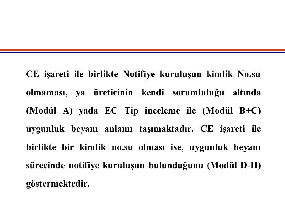 CE işareti ile birlikte Notifiye kuruluşun kimlik No.su olmaması, ya üreticinin kendi sorumluluğu altında (Modül A) yada EC Tip inceleme ile (Modül B+