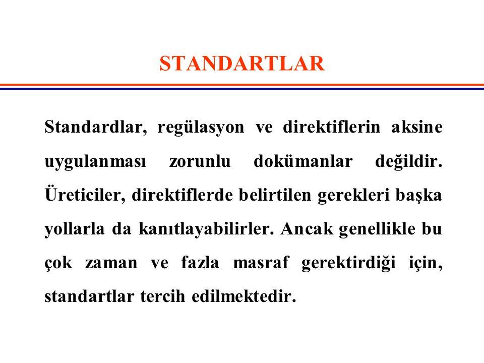 STANDARTLAR Standardlar, regülasyon ve direktiflerin aksine uygulanması zorunlu dokümanlar değildir. Üreticiler, direktiflerde belirtilen gerekleri ba