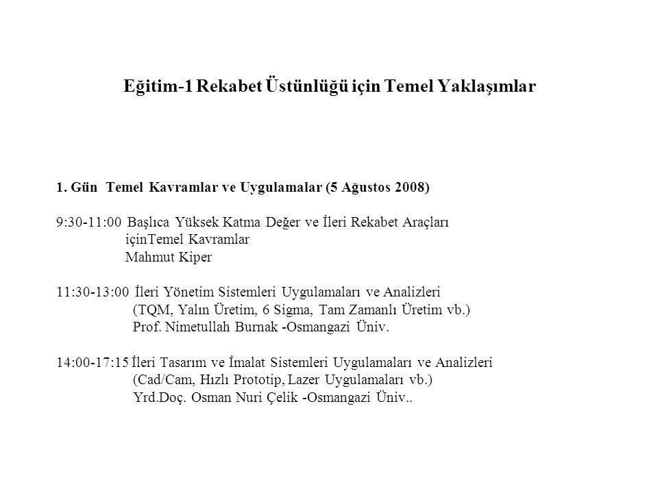 Eğitim-1 Rekabet Üstünlüğü için Temel Yaklaşımlar 1. Gün Temel Kavramlar ve Uygulamalar (5 Ağustos 2008) 9:30-11:00 Başlıca Yüksek Katma Değer ve İler