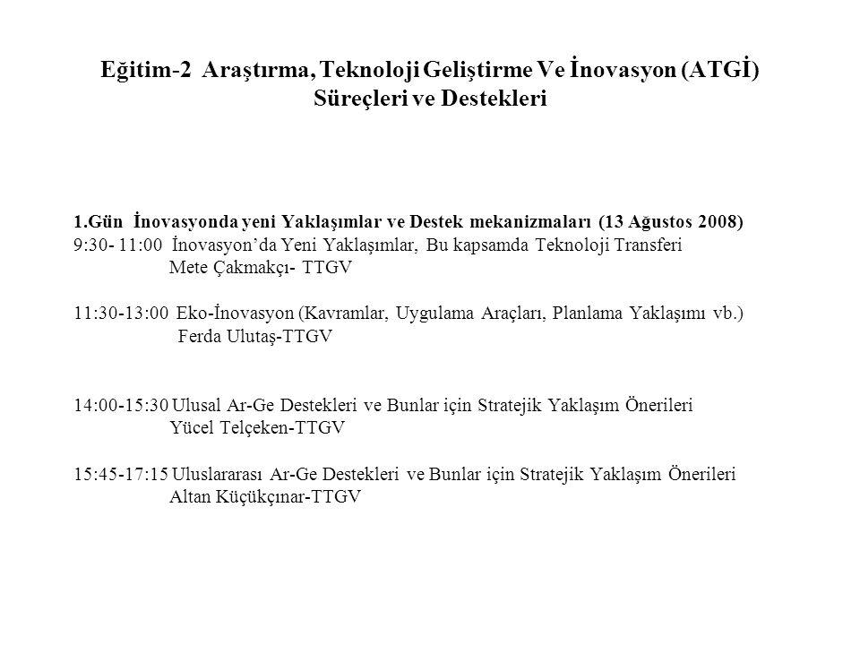 Eğitim-2 Araştırma, Teknoloji Geliştirme Ve İnovasyon (ATGİ) Süreçleri ve Destekleri 1.Gün İnovasyonda yeni Yaklaşımlar ve Destek mekanizmaları (13 Ağustos 2008) 9:30- 11:00 İnovasyon'da Yeni Yaklaşımlar, Bu kapsamda Teknoloji Transferi Mete Çakmakçı- TTGV 11:30-13:00 Eko-İnovasyon (Kavramlar, Uygulama Araçları, Planlama Yaklaşımı vb.) Ferda Ulutaş-TTGV 14:00-15:30 Ulusal Ar-Ge Destekleri ve Bunlar için Stratejik Yaklaşım Önerileri Yücel Telçeken-TTGV 15:45-17:15 Uluslararası Ar-Ge Destekleri ve Bunlar için Stratejik Yaklaşım Önerileri Altan Küçükçınar-TTGV