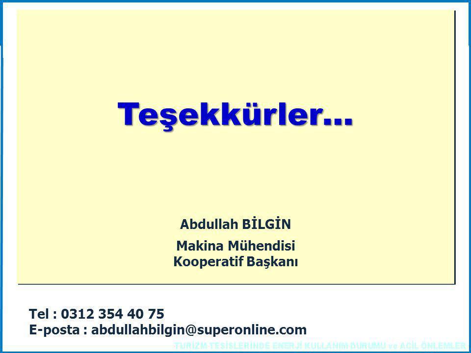 Tel : 0312 354 40 75 E-posta : abdullahbilgin@superonline.com Teşekkürler… Teşekkürler… Abdullah BİLGİN Makina Mühendisi Kooperatif Başkanı