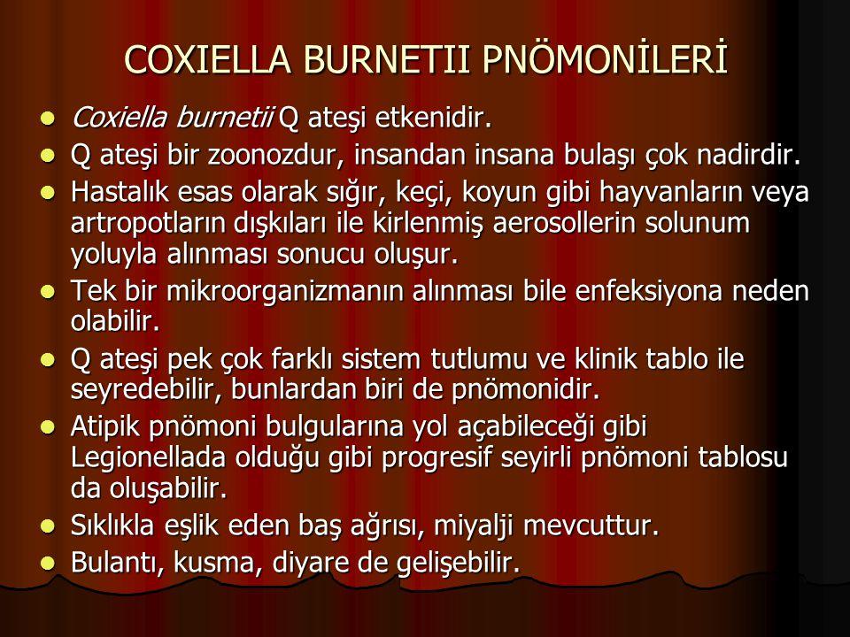 COXIELLA BURNETII PNÖMONİLERİ Coxiella burnetii Q ateşi etkenidir. Coxiella burnetii Q ateşi etkenidir. Q ateşi bir zoonozdur, insandan insana bulaşı